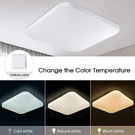 Regulable Luz de techo LED Baño Cocina Dormitorio Lámpara LED Techo Sala de estar Comedor Pasillo Habitación Cuadrado Moderno Impermeable Plafón LED ...