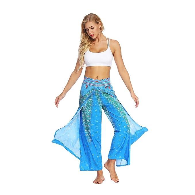 6d5480f211d6 Amazon.com  SEVENWELL Women Sexy Boho Yoga Pants Slit Wide Leg Floral Pants  Casual Summer Gypsy Hippie Boho Yoga Harem Pants  Clothing