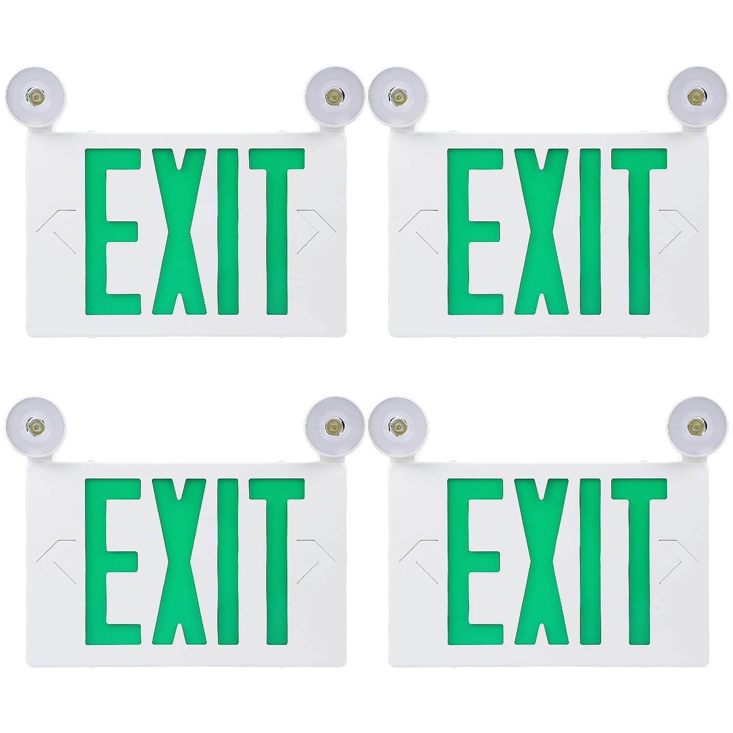 TORCHSTAR Green Letter LED Exit Sign, Double Face Emergency Light, AC 120V/277V, Battery Included, Top/Side/Back Mount Sign Light with 2 Adjustable Head, UL Listed for Commercial Grade, Pack of 4