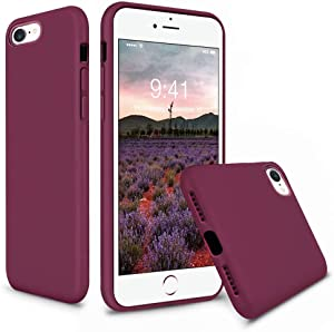 Vooii iPhone SE Case (2020), iPhone 8 Case, iPhone 7 Case, Soft Silicone Gel Rubber Bumper Case Microfiber Lining Hard Shell Shockproof Full-Body Protective Case Cover for iPhone SE/7/8 - WineRed