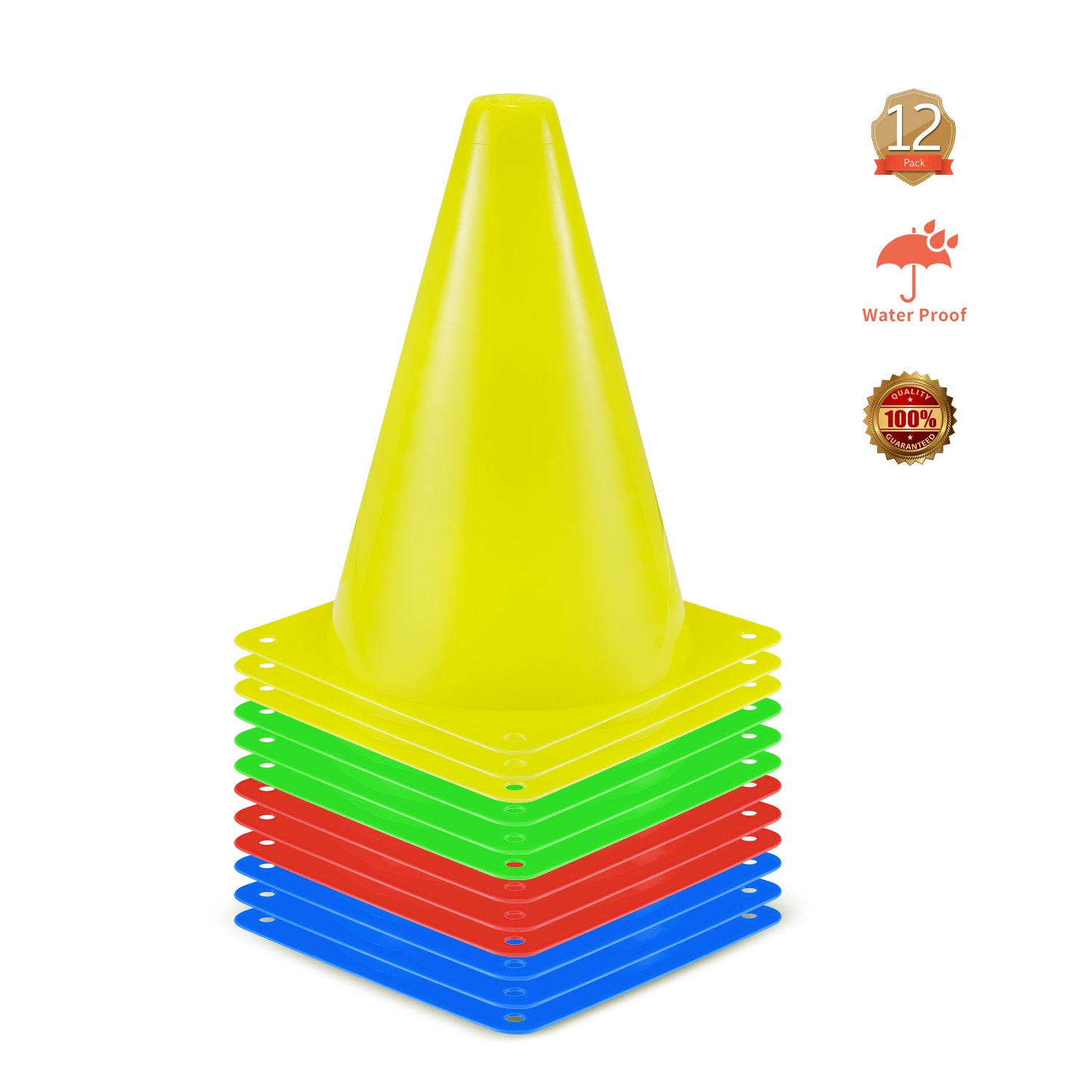 KUYOU Training Cones, Field Marker Cones Plastic Sport Training Traffic Cone for Skate Soccer and Outdoor Agility Training -7 inch Pack of 12