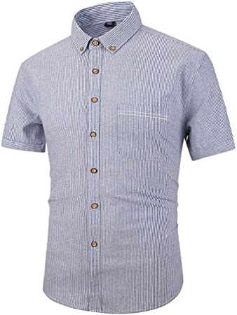 Camisa de verano para hombre Camisa de vestir con botones para hombre Camisa a rayas de