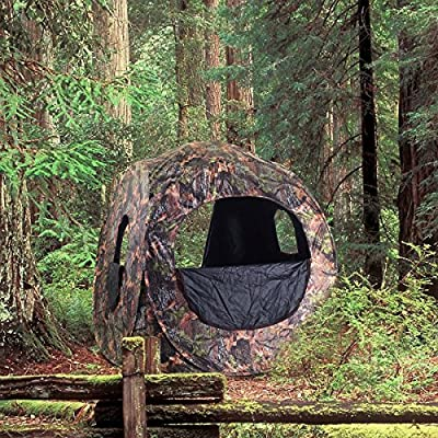TANGKULA Hunting Tent Portable Hunting Blind Pop Up Ground Blind 2-3 People Camo Weather Resistant with Backpack Hunting Enclosure