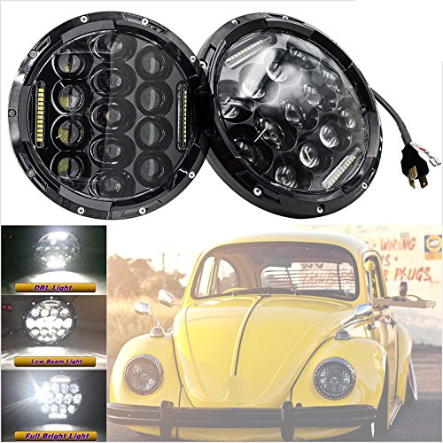 Headlamp Conversion Round 7' (Pair LED Round Headlights 7'' Sealed Hi/Lo Beam Kit with H4 H13 Adapters H6024 For 1950-1979 VW Beetle Classic)