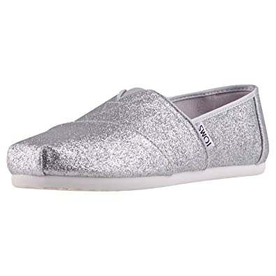 26b66cd6368 Image Unavailable. Image not available for. Color  TOMS Kids Girl s  Alpargata (Little Kid Big Kid) Silver Iridescent Glimmer ...