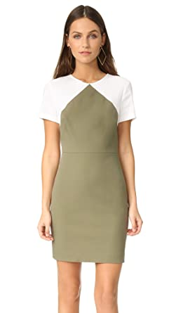 8a6c48f3 Diane von Furstenberg Women's Short Sleeve Tailored Sheath Dress, Khaki  Green/White, ...