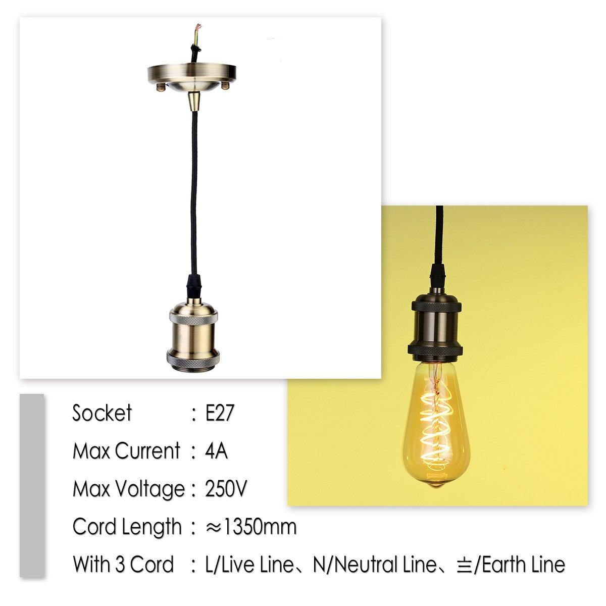 4er GreenSun LED Lighting Vintage 4 St/ück,E27 Lampenfassung Antike Edison Halter Lampe Zubeh/ör mit 1.35 Meter 3-adriges Kabel f/ür Pendelleuchte H/ängelampe keramik R5