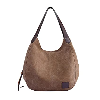 ShenPr Womenu0027s Casual Solid Canvas Handbags Vintage Female Hobos Single  Shoulder Messenger Bags (Coffee)