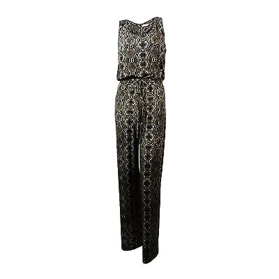 Calvin Klein Women's Sleeveless Snakeskin Print Jersey Jumpsuit