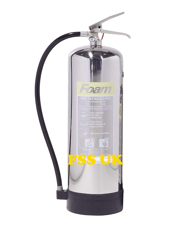 oficinas cocinas restaurantes almacenes Extintores de espuma AFF de 6 litros con acabado cromado CE hoteles y todos los incendios l/íquidos. Ideal para barcos Nuevamente fabricado