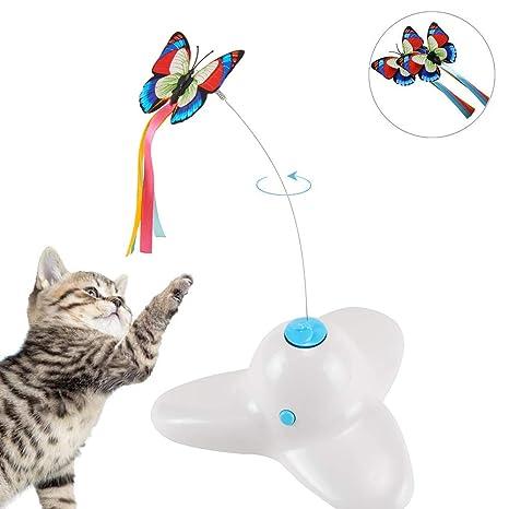 Xiruisz electrónico drehendes Gato Juguete con Mariposa rotatorio