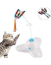 Xiruisz Elektronisch drehendes Katzenspielzeug mit rotierendem Schmetterling
