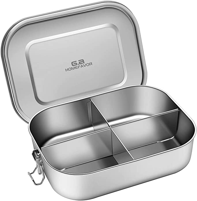 Stainless Steel Bento Box, G.a HOMEFAVOR Metal Lunch Box Food Container with 4-Compartment, 1400ML, Perfect for Snacks and Salad, Dishwasher Safe