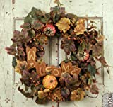 "24"" Fall Welcome Wreath with mini pumpkins"