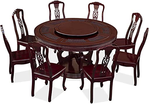 Amazon Com Chinafurnitureonline Rosewood Asian Dining Table 8 Chairs 60 Inch Round Coin Motif Dark Cherry Table Chair Sets