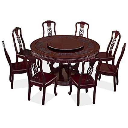 Amazoncom Chinafurnitureonline Rosewood Round Dining Table Set