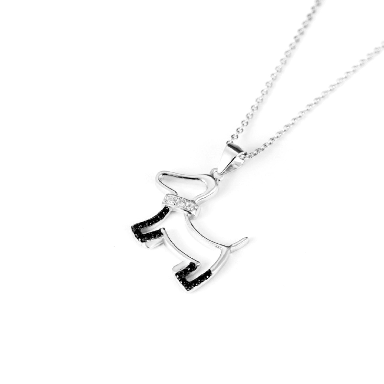 CS-DB Black/&White Crystal Puppy Pattern Necklaces