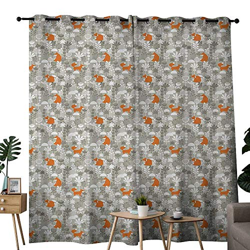 NUOMANAN Room Darkening Wide Curtains Fox,Small Animals of The European Forests Doodle Style Floral Arrangement,Resheda Green Orange White,Light Blocking Drapes with Liner 52