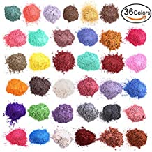 Mica Powder for Bath Bombs - Soap Dye for Soap Coloring - Soap Making Colorants Set - 0.17 oz 36 bags - Candle Making - Blush - Eye Shadow - Craft Projects - Nail Art - Resin Jewelry