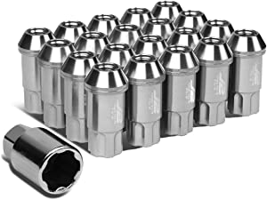 J2 Engineering 7075 Replacement forged Aluminum M12X1.5 20Pcs 50mm Long Open End Lug Nut Set w/Turner (Silver)
