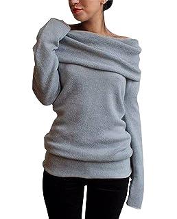062e71122bcd32 Minetom Damen Herbst Winter Strick Off-Shoulder Sweatshirt Stretch Pullover  Sweater Tunika
