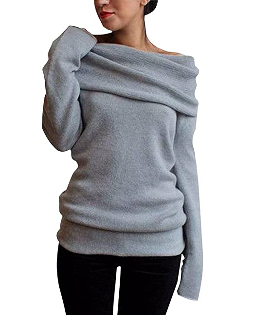 timeless design 8c2b7 b9bea Minetom Damen Herbst Damen Warm Strick Off-Shoulder Stretch Pullover  Sweater Jumper Tunika Sweatshirt Grau Khaki