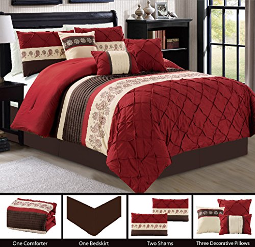 Modern 7 Piece Bedding Burgundy Red, Brown, Beige Paisley Embroidered Pin Tuck Comforter Set with accent pillows