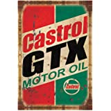 PEI's Retro Vintage Tin Metal Sign, Castrol Motor Oil, Wall Decor for Home Garage Bar Man Cave, 8x12/20x30cm