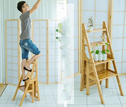 Taburete de madera maciza / Escalera alta de 4 escalones Taburetes altos de madera maciza Escalera plegable de doble uso Taburete / taburete Escaleras pequeñas de madera Escalera de jardín de madera