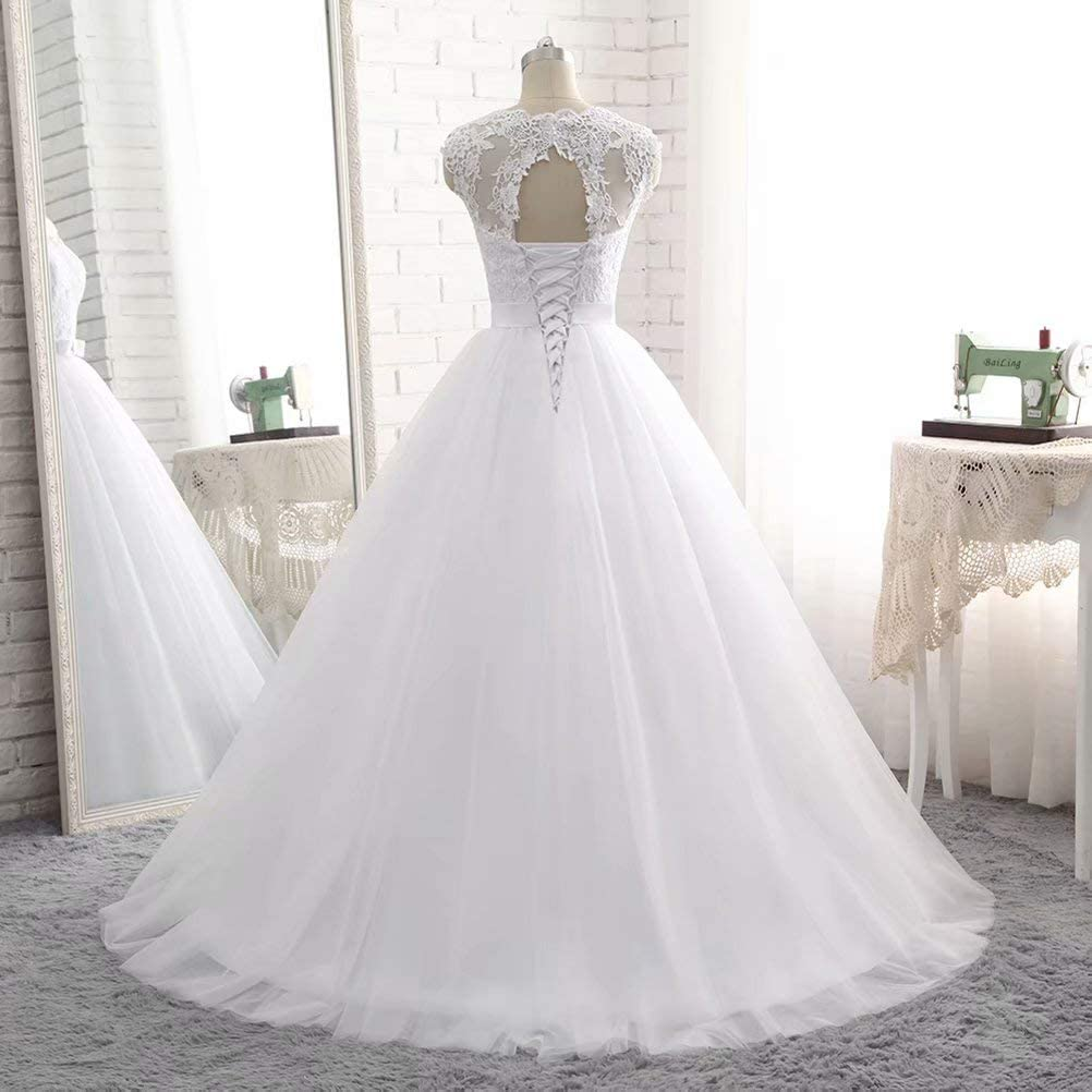 PEBridal White Ivory Color Women Ball Gown Wedding Dresses Appliques Lace Up Cap Sleeves Lady Bridal Gown