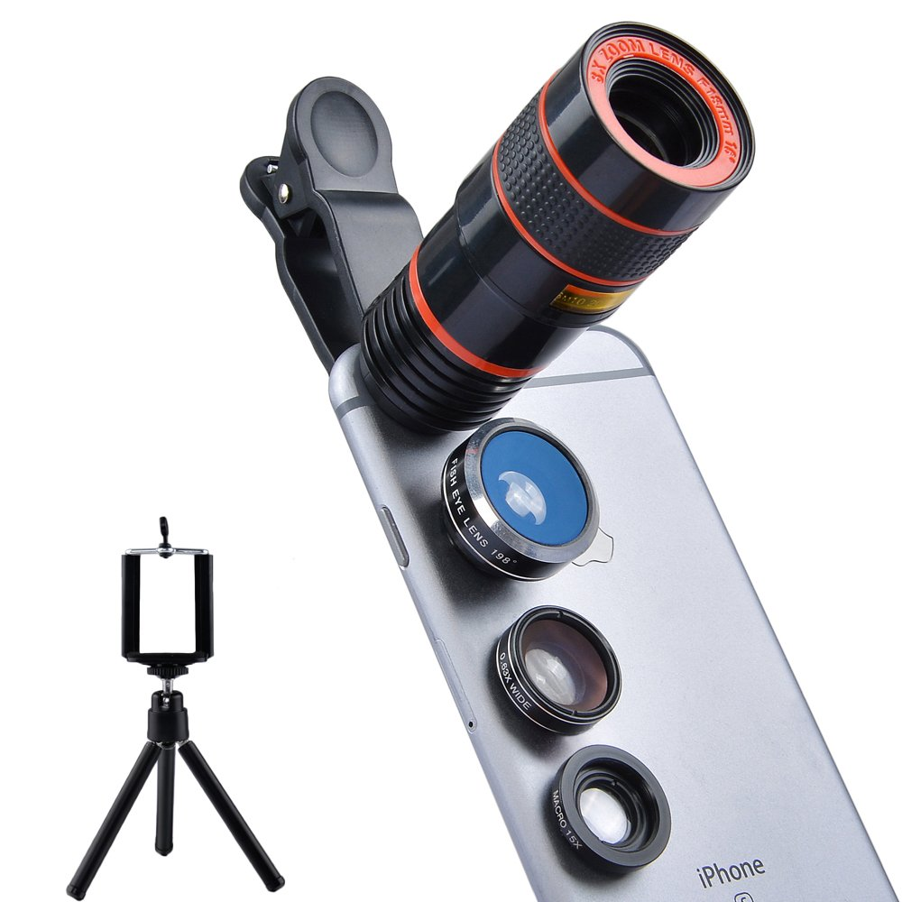 Apexel 4 in 1 Camera Lens 8x Telephoto Lens+Fisheye+Wide Angle + Macro Lens for iPhone 7 6/6s plus SE Samsung Galaxy S7/S7 Edge S6/S6 Edge and HTC Google Huawei LG Smartphone Tablets by Apexel