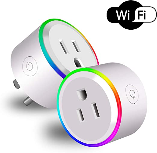 Mele & Co WiFi enchufes Inteligentes Que, Google Home y IFTTT, UK Mini enchufes Inteligentes inalámbricos, función de temporización, Control Remoto de la aplicación, (con RGB Light-2 Pack): Amazon.es: Hogar