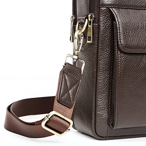 10ef729265 Sunmig Men s Genuine Leather Shoulder Bag Messenger Briefcase CrossBody  Handbag (Coffee)