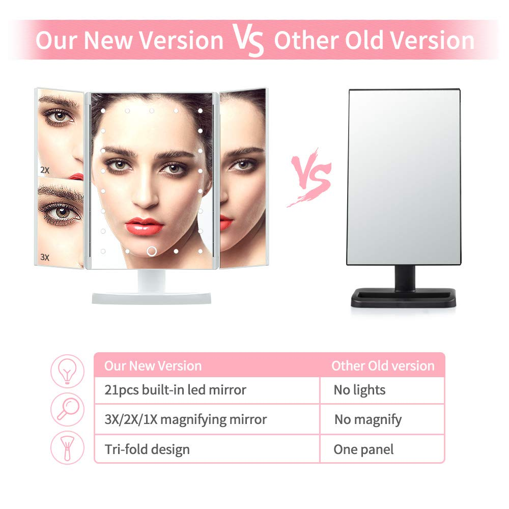 Makeup Mirror with Lights, DIOZO Makeup 21 LED Vanity Mirror, Lighted Up Mirror with Touch Screen Switch, 180 Degree Rotation, Dual Power Supply, Portable White Trifold Mirror by DIOZO (Image #4)