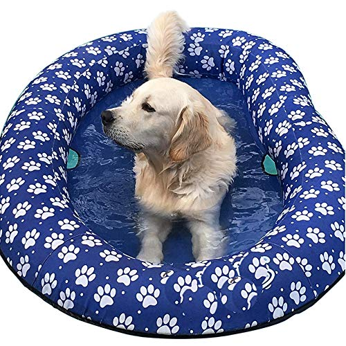 Ginkago Inflatable Pool Float for Adult Dogs and Puppies, Large Contemporary Modern Blue Pet Dog Swimming Pool Float Ride on