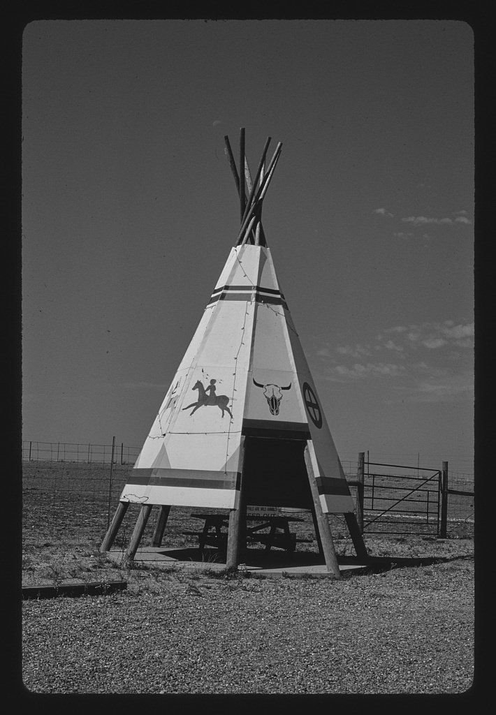 Vintography 8 x 12 BW Photo of: Teepee picnic enclosure, Bingo Car/Truck Stop, Kadoka, South Dakota 1987 Roadside America Margolies, John 86b by Vintography