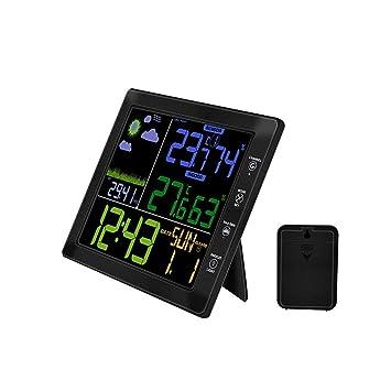 YTS Reloj inalámbrico de Temperatura y medidor de Humedad para Interiores y Exteriores, Pantalla multifunción en Color Reloj con previsión meteorológica: ...