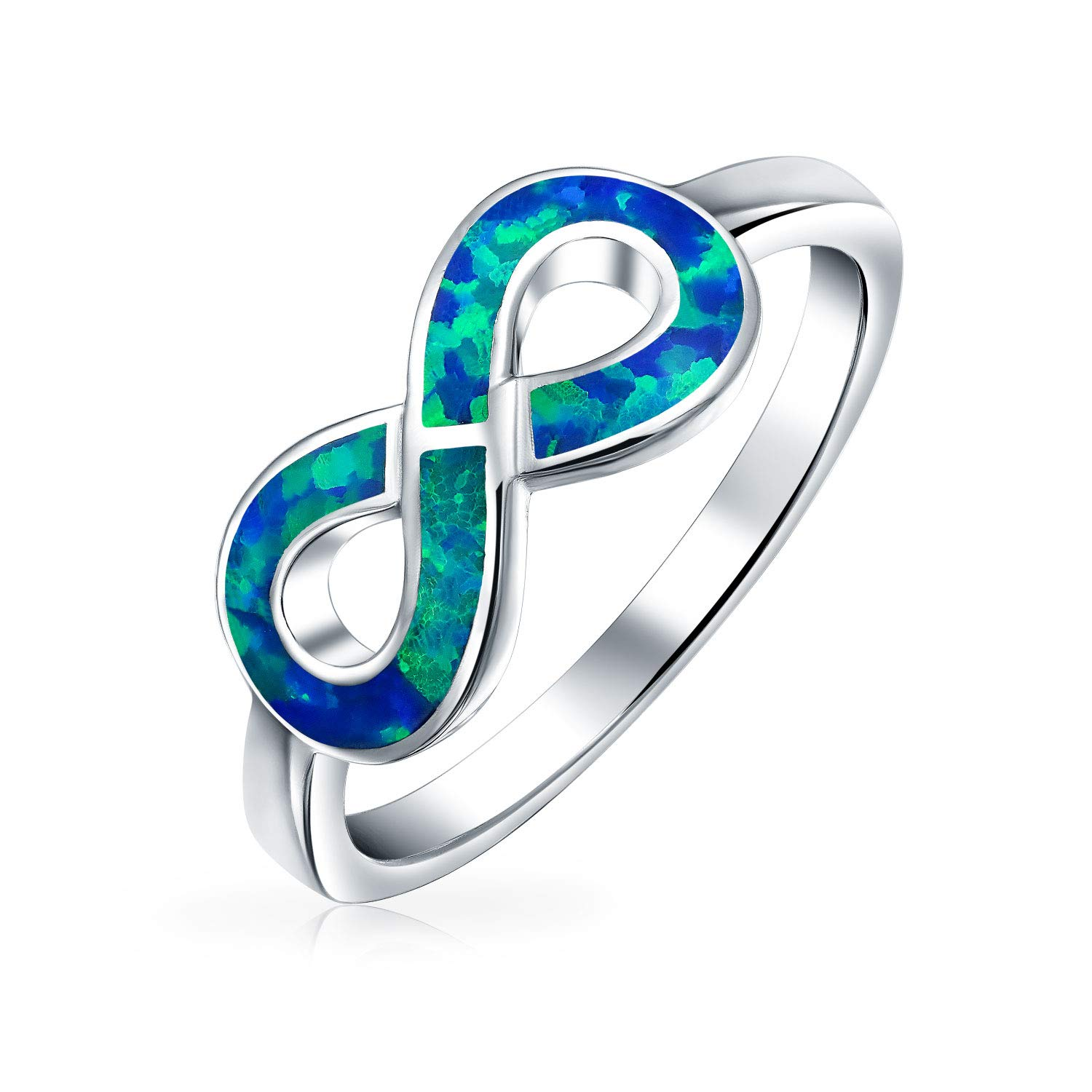 Personalized Blue Created Opal Inlay Love Knot Infinity Ring For Teen For Women 925 Sterling Silver Custom Engraved