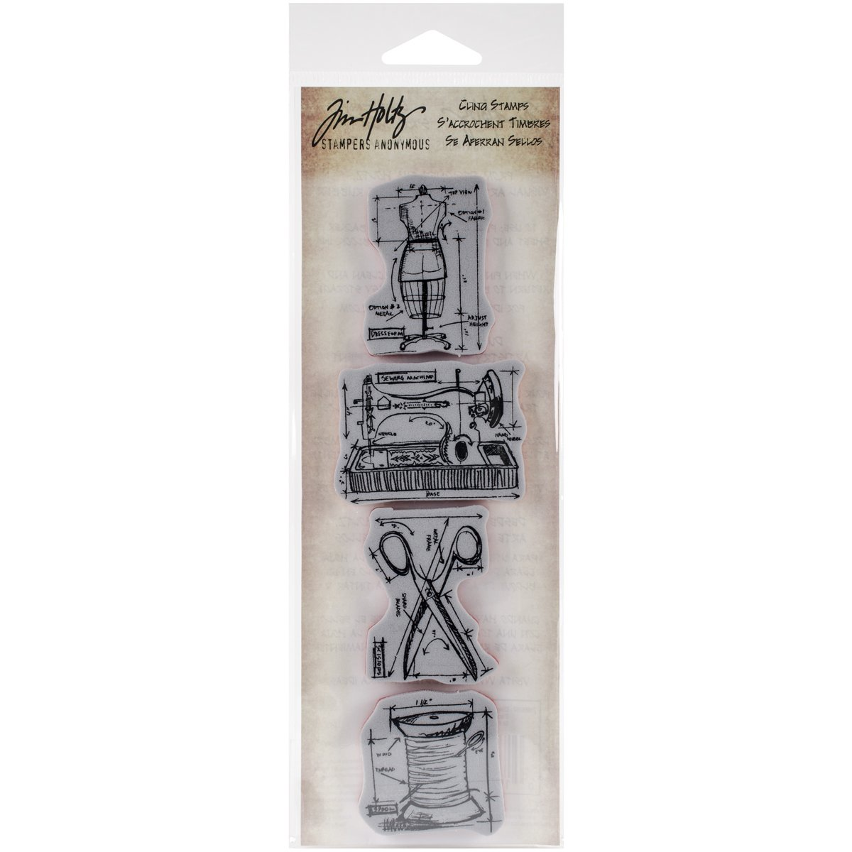 Stampers Anonymous Tim Holtz Mini Blueprints Strip Cling Rubber Stamps, 3 by 10, Sewing 3 by 10 MB-7