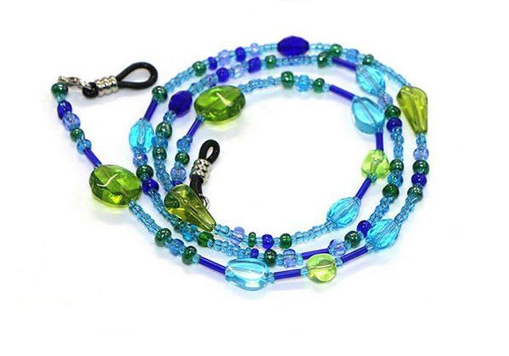 Qilene creativo sveglia multicolore rilievo Eyelasses occhiali da sole catena cinghia cavo (blu)