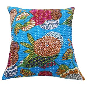 """Decorative Turquoise Blue Cushion Cover Floral Cotton Kantha Pillow Case Indian Gift 20"""" Inches"""