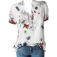 ZouYiL Damesblouse met korte mouwen, V-hals, bloemen, hemdblouse, T-shirt, oversized bedrukte T-shirts met lange mouwen…