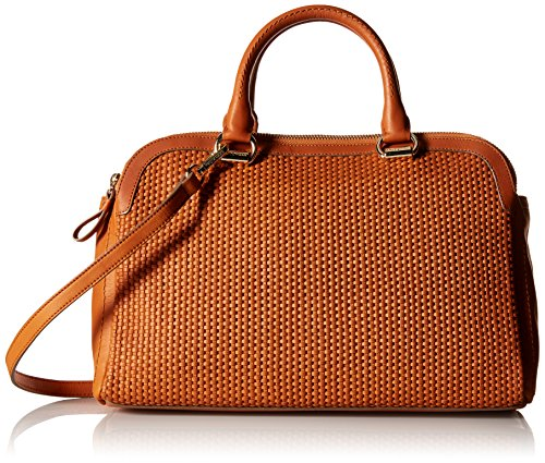 Cole Haan Leesa Weave Double Zip Satchel, Acorn (Zip Top Satchel Woven)