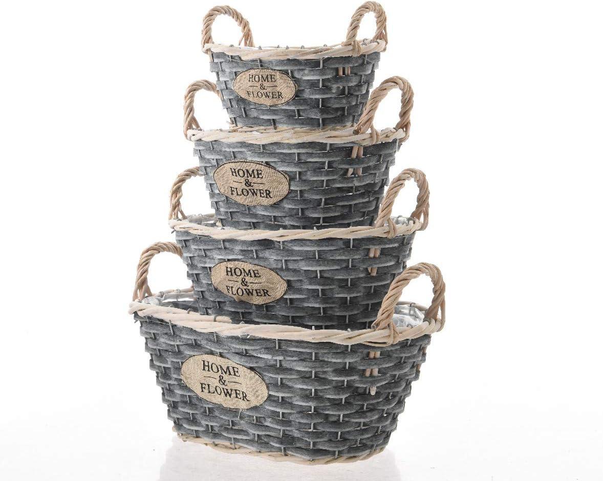 4/tremble bois pot de Paniers avec anse ovale en 4/tailles Gris