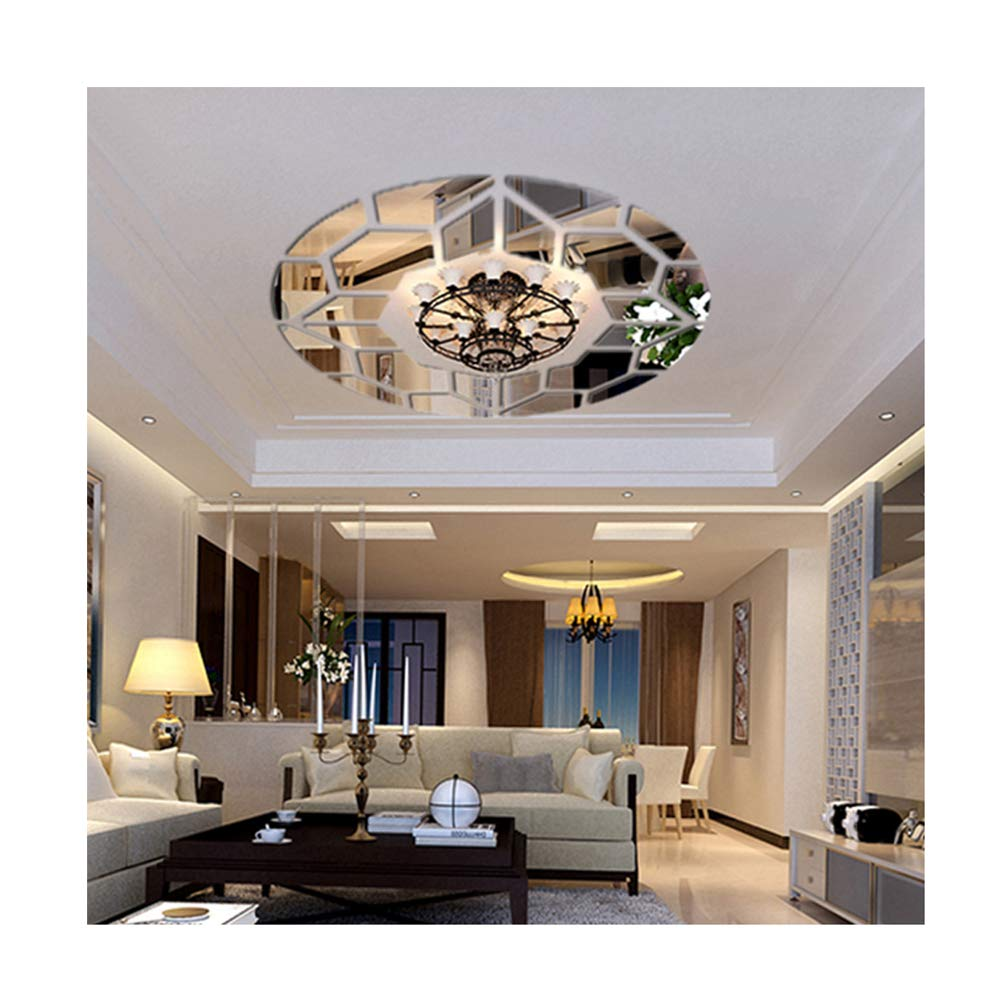 DIY Mirror Effect Ceiling Lights Decorative Wall Stickers Living Room  Restaurant Bedroom Corridor Decorative Wall Decor Art Mural Decal Removable