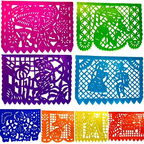 Day of the Dead Banner- Mexican Fiesta Papel Picado Garland- Large (16 Feet) Horizontal Paper
