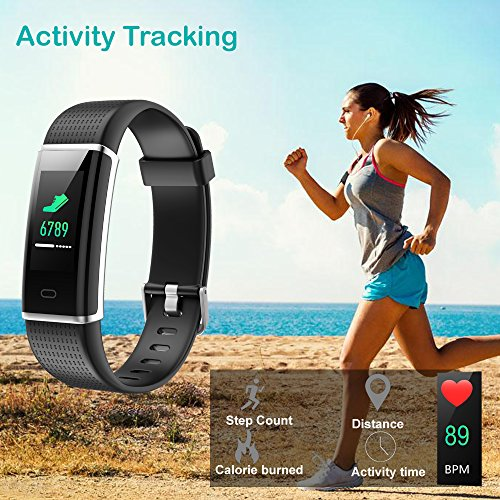 Willful Fitness Tracker, Heart Rate Monitor Fitness Watch Activity Tracker(14 Modes) Pedometer with Step Counter Sleep Monitor Call SMS SNS Notice for Women Men Kids (Black+Black) by Willful (Image #3)