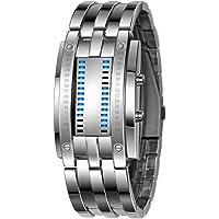 shot-in Luxury Men's Waterproof Stainless Steel Date Digital LED Bracelet Sport Watches (Silver)