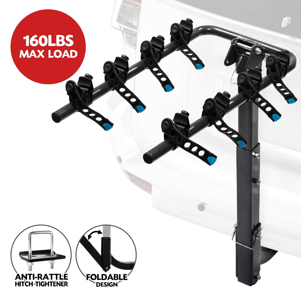 LITE-WAY 4-Bike Hitch Mounted Rack - Heavy Duty Bicycle Carrier Fit Most Sedans, Hatchbacks, Minivans, SUV (2 Inch Receiver) zhongxin