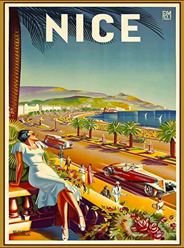 A SLICE IN TIME Nice France French Europe European Cars Vintage Travel Advertisement Art Collectible Wall Decor Poster Print. Measures 10 x 13.5 inches